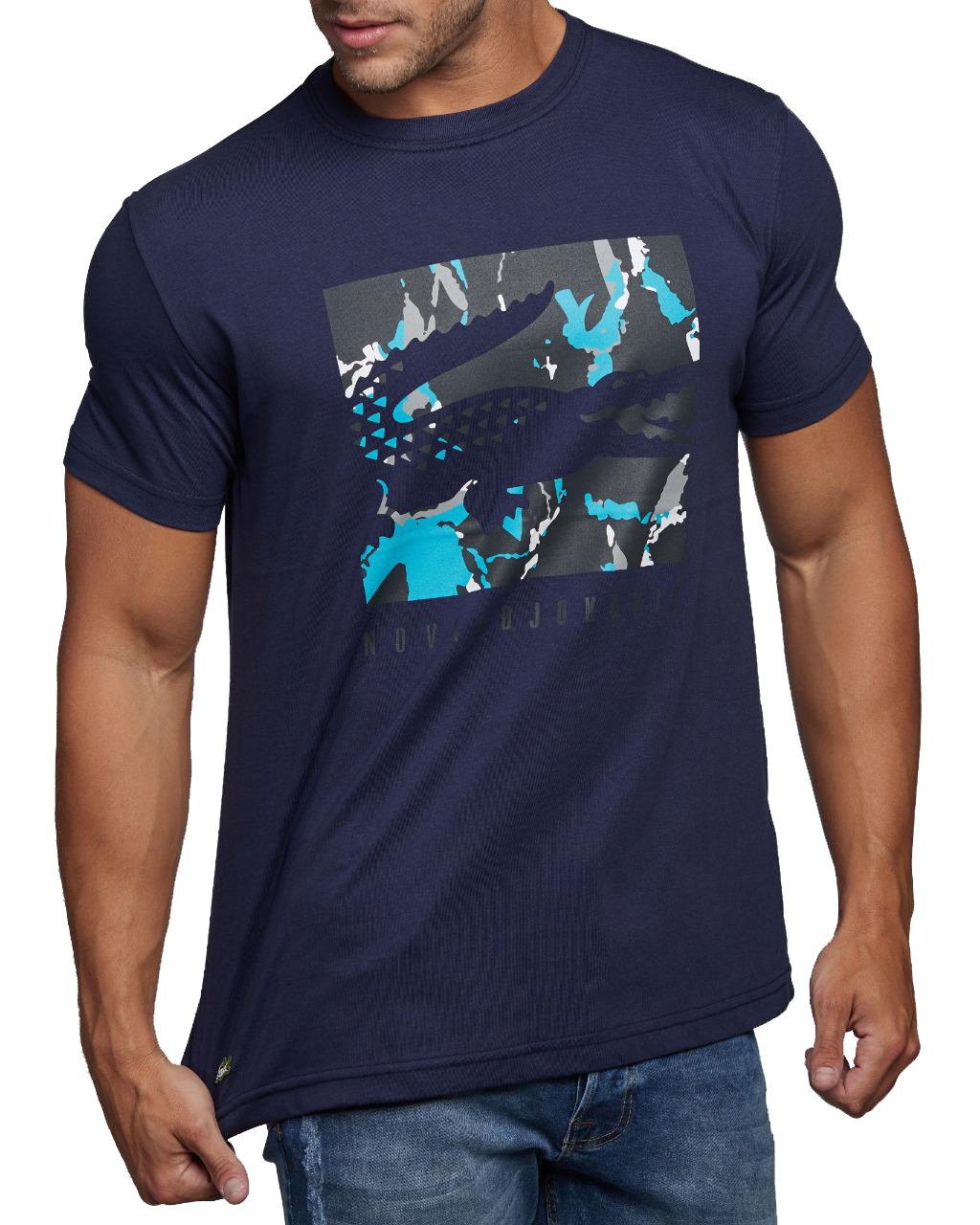 Camiseta Lacoste Masculina crocodilo Camuflado Novak Djokovic Azul Marinho