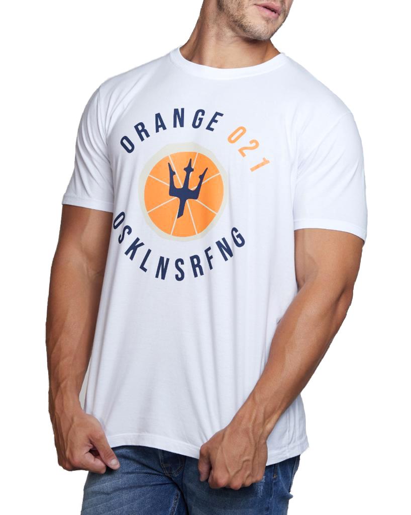 Camiseta Osklen Masculina Slim Stone Vintage Orange 021 Branco