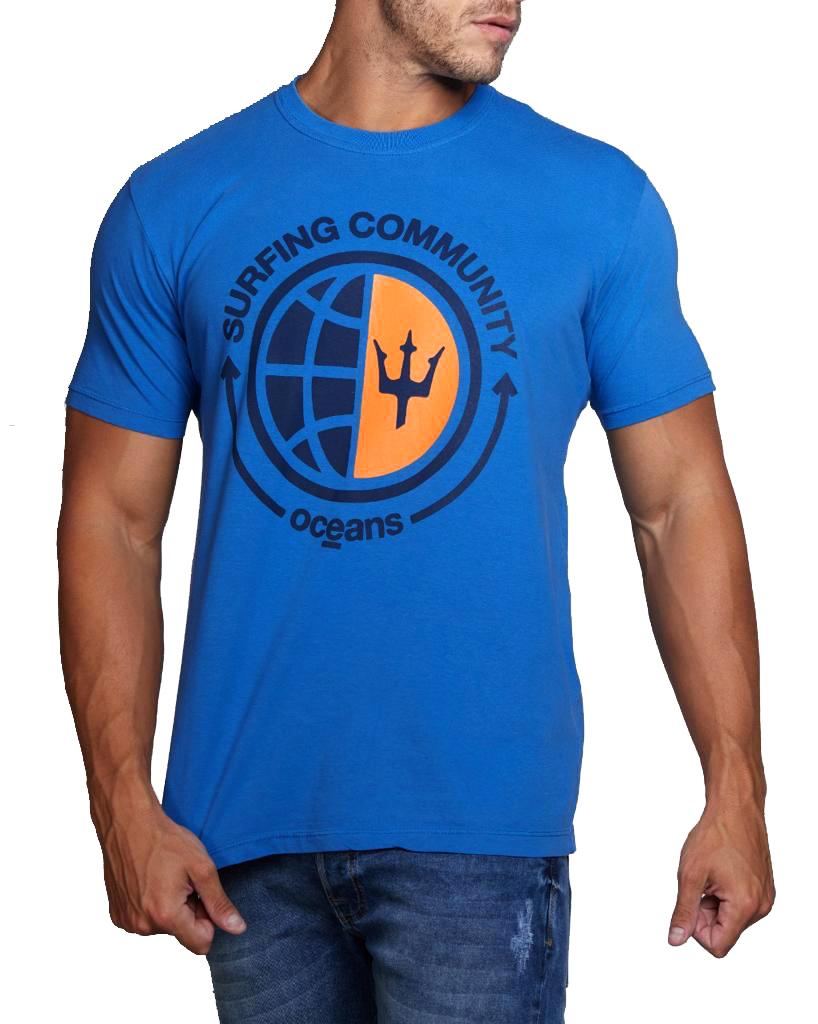 Camiseta Osklen Masculina Slim Stone Vintage Surfing Community Azul