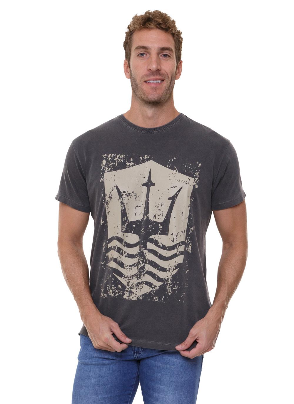 Camiseta Osklen Slim Fit Stone Vintage Tridente Cinza Escuro