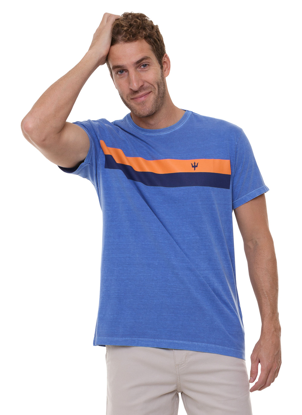 Camiseta Osklen Slim Stone Vintage Striped Mini Tridente Stonada Azul