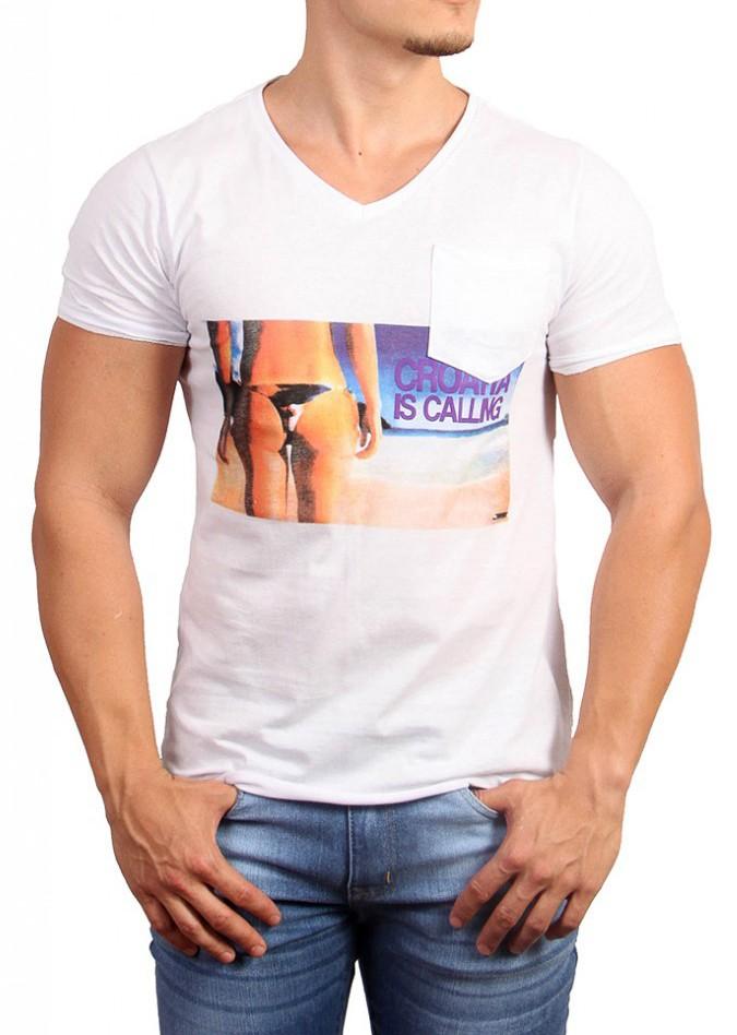 Camiseta Sergio K Masculina Calling Croatia Branco