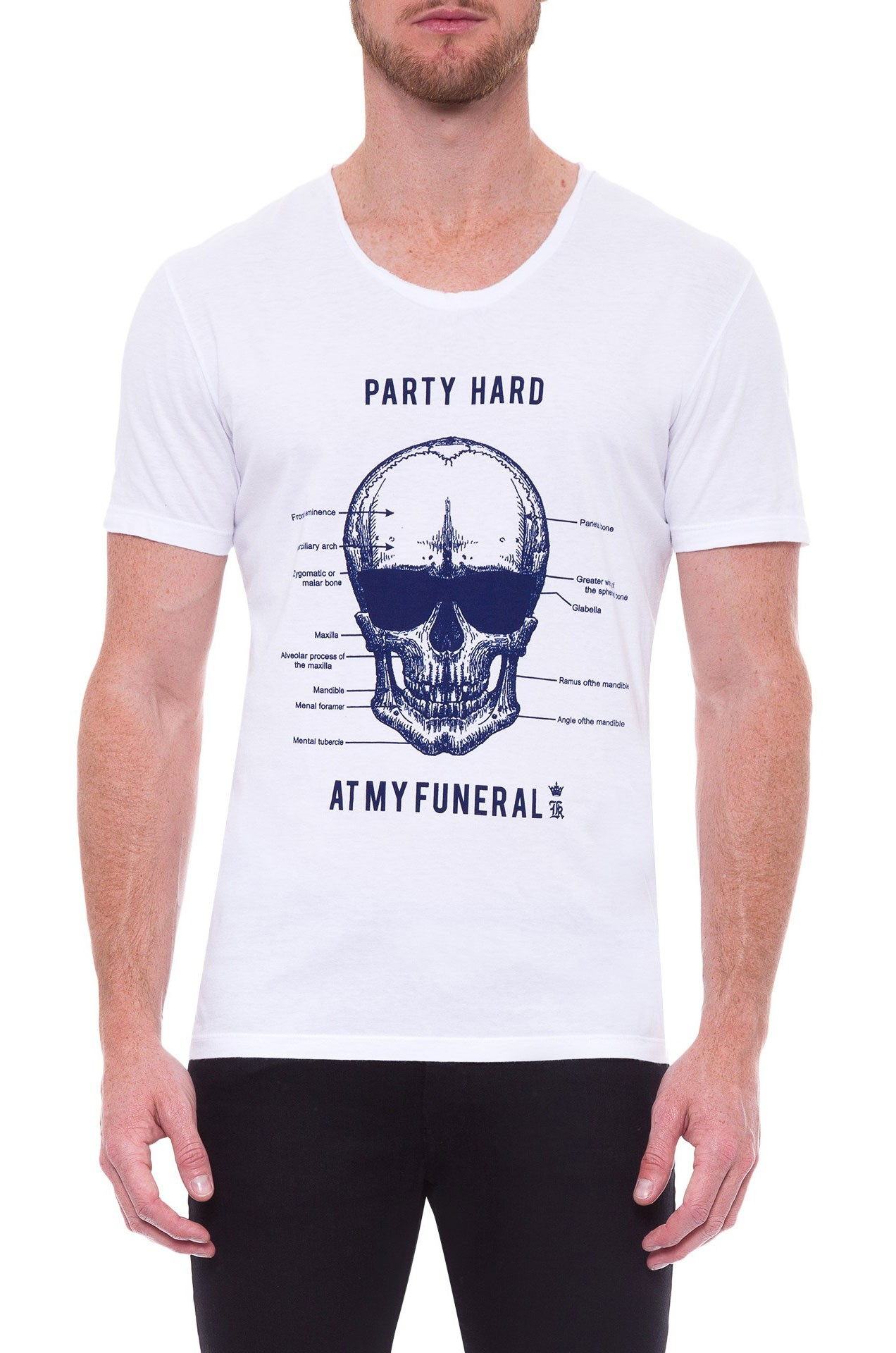 Camiseta Sergio K Masculina Skull Anatomy Branco