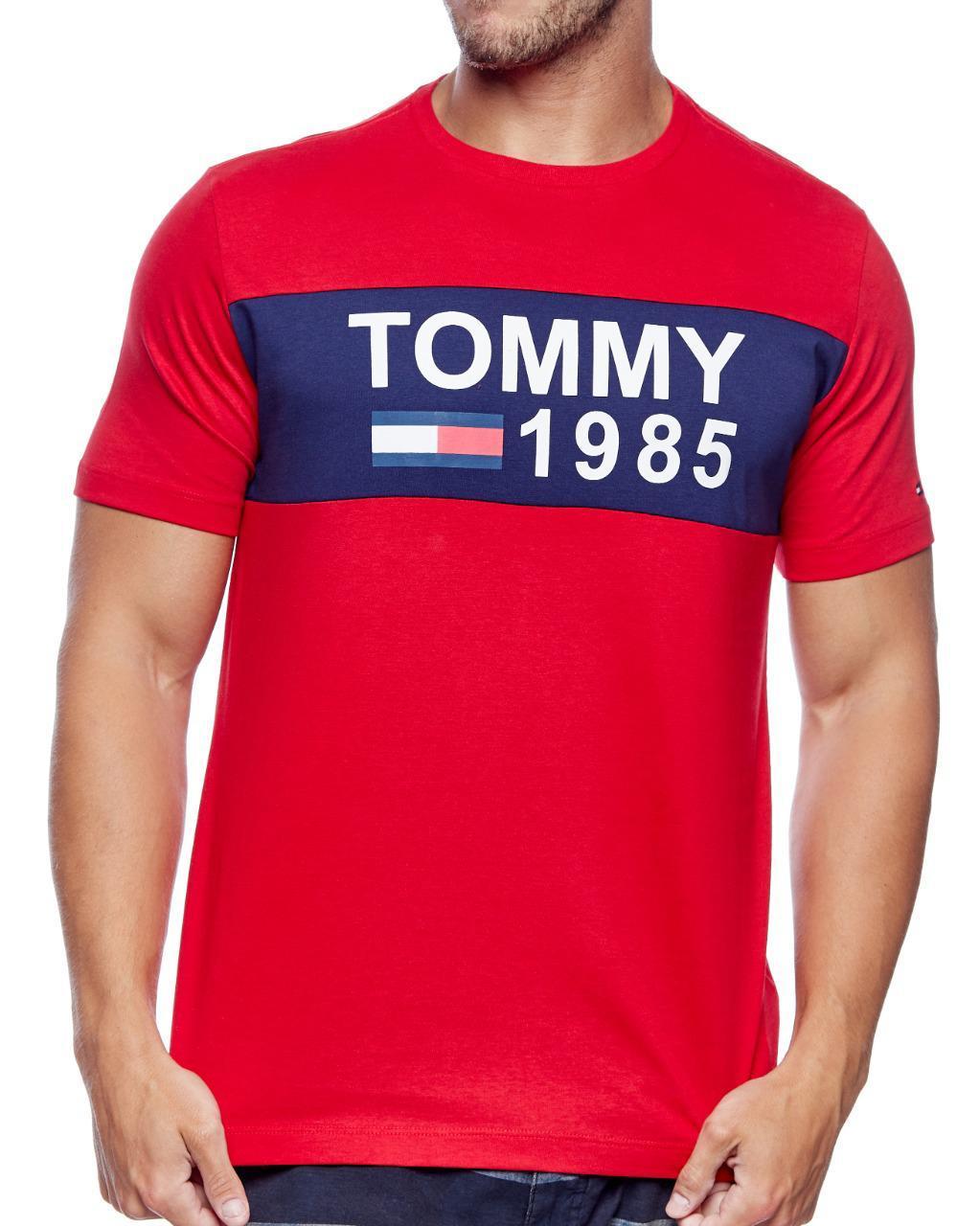 Camiseta Tommy Hilfiger Masculina Custom Fit Coupe Flag 1985 Vermelho