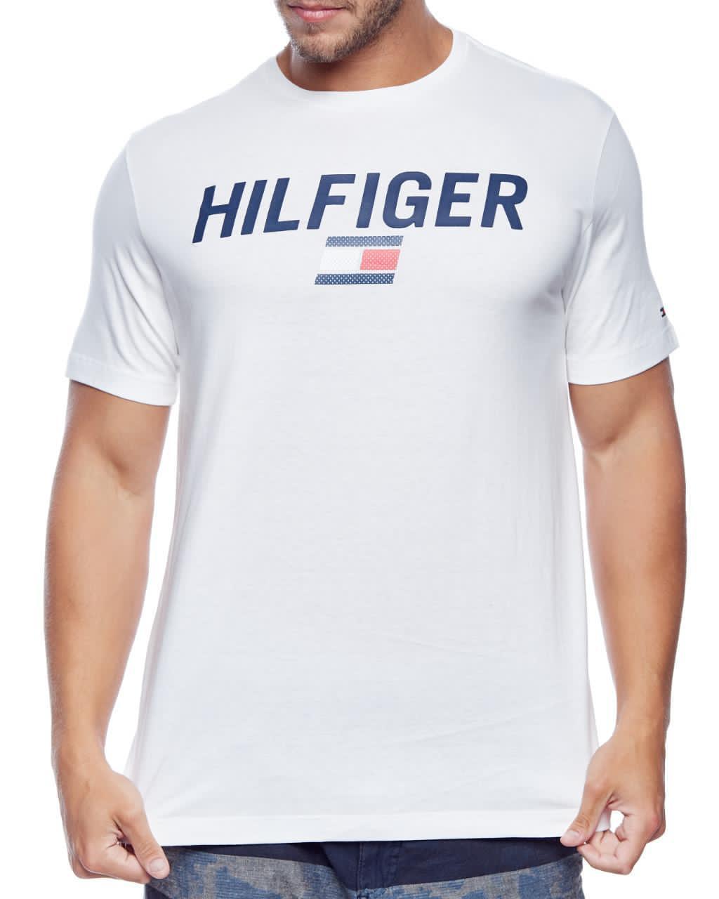 Camiseta Tommy Hilfiger Masculina Custom Fit Coupe Lettering Flag Branco