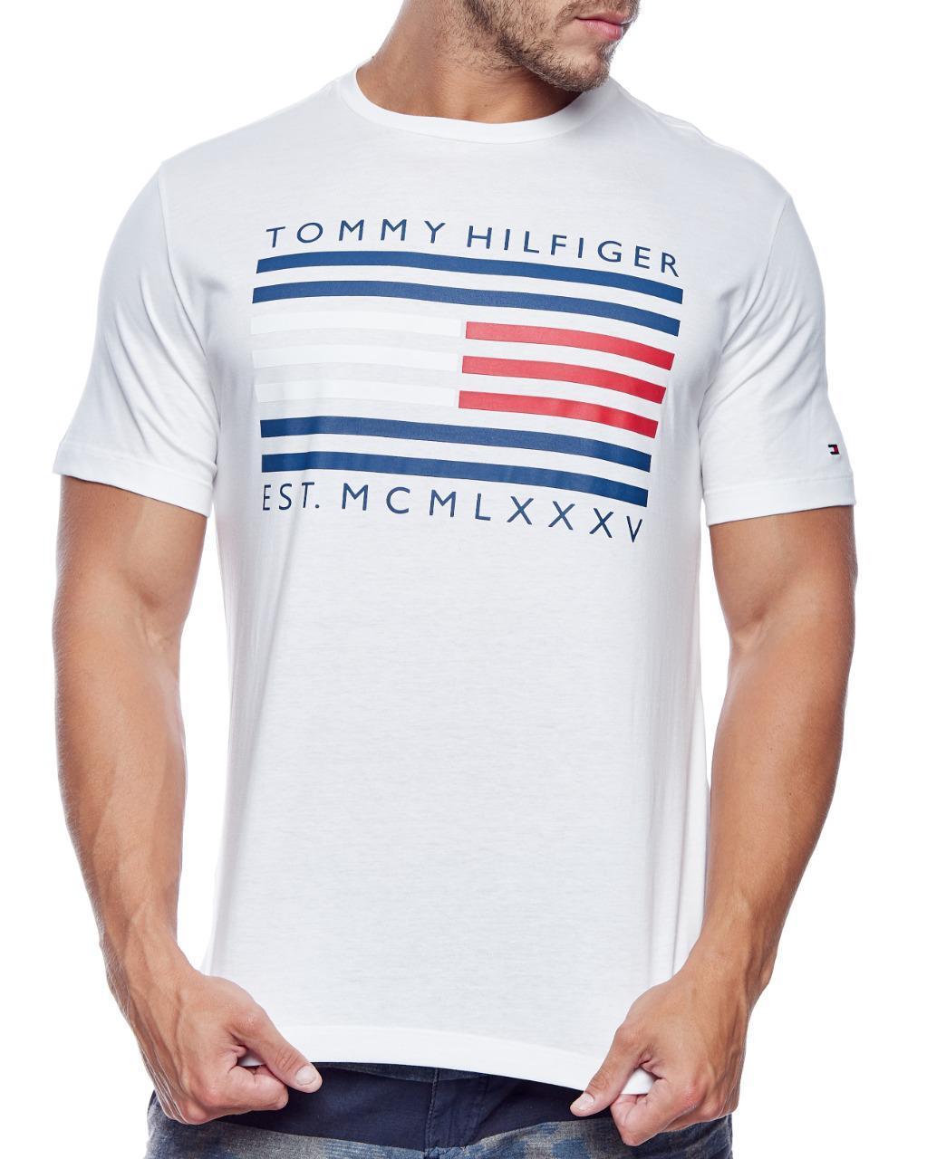 Camiseta Tommy Hilfiger Masculina Custom Fit Flag Lettering Logo Branco