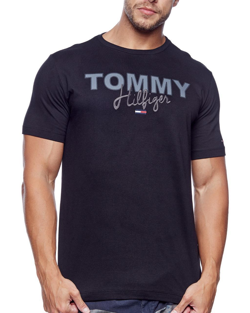 Camiseta Tommy Hilfiger Masculina Custom Fit Lettering Embroidery Preto