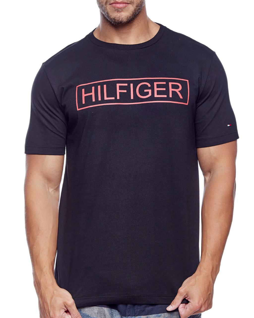 Camiseta Tommy Hilfiger Masculina Custom Fit Lettering Pure Preto