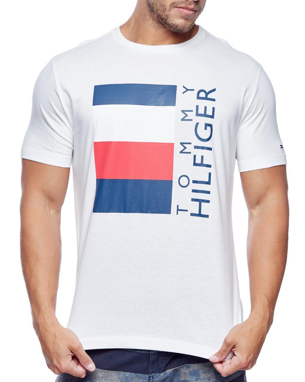 Camiseta Tommy Hilfiger Masculina Flag Lettering TH Branco