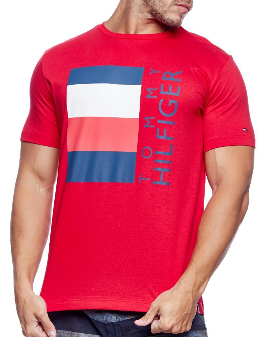 Camiseta Tommy Hilfiger Masculina Flag Lettering TH Vermelho