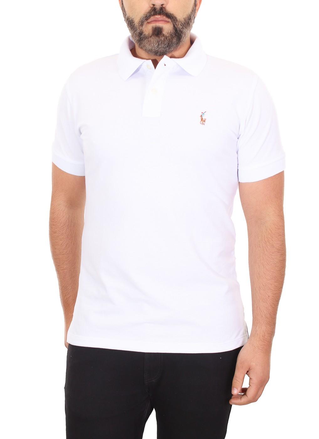 Polo Ralph Lauren Masculina Custom Fit Branco Logo Colored