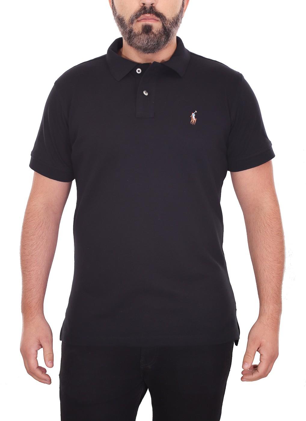 Polo Ralph Lauren Masculina Custom Fit Preto Logo Colored