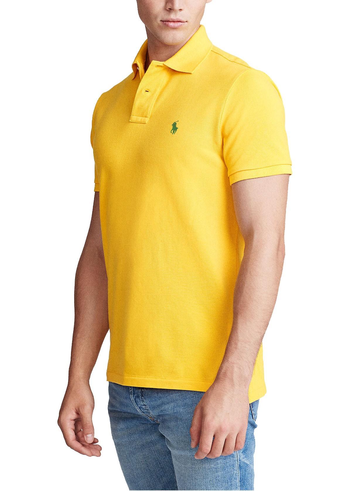 Polo Ralph Lauren Masculina Custom Fit Small Pony Verde Amarelo