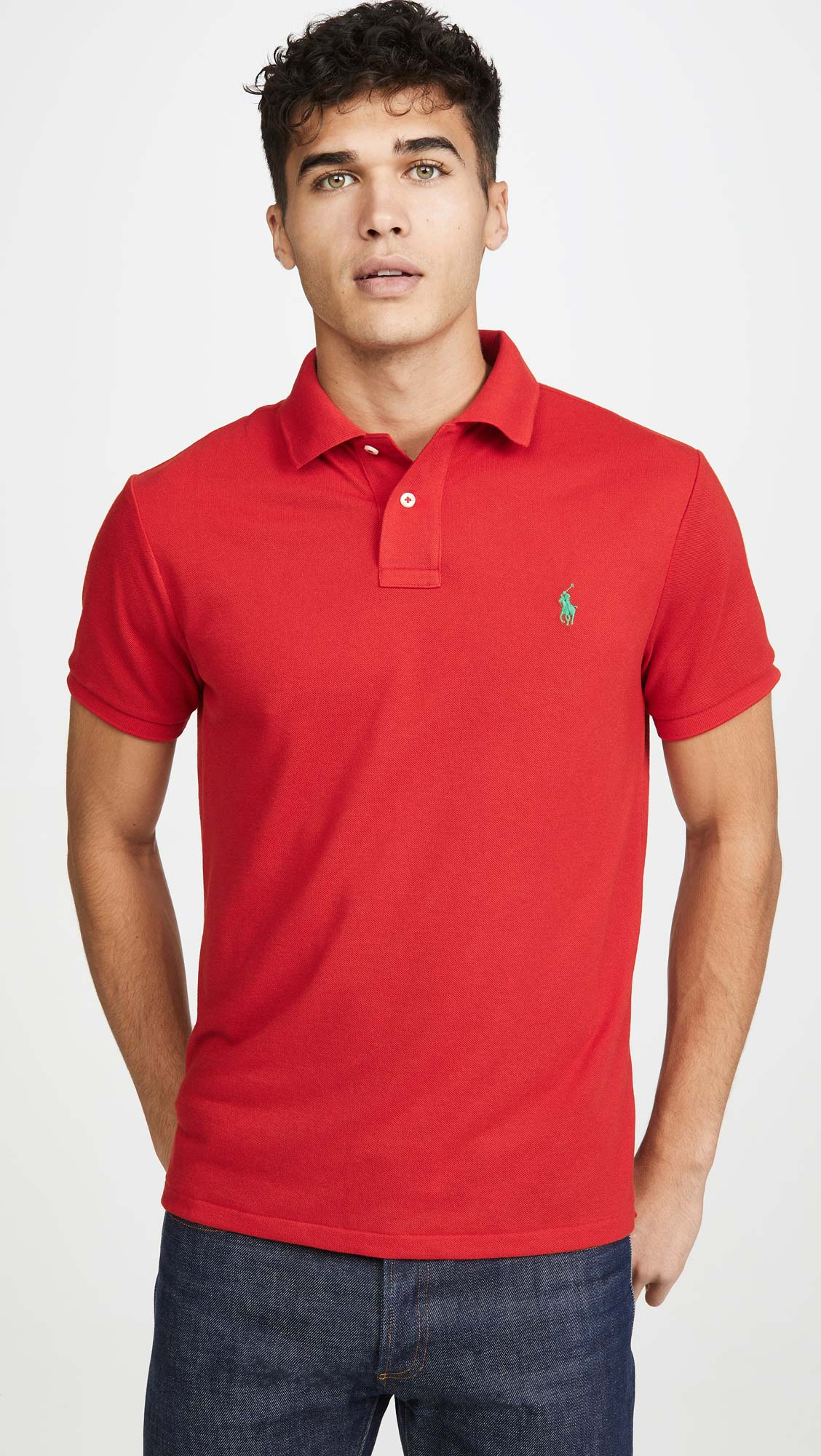 Polo Ralph Lauren Masculina Custom Fit  Small Pony Vermelho