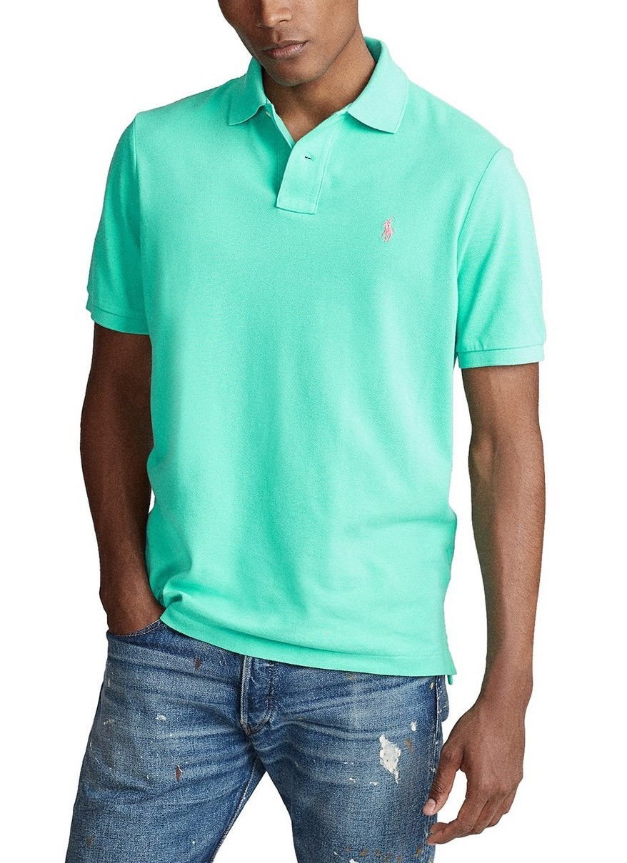 Polo Ralph Lauren Masculina Custom Fit Verde Água Sunset