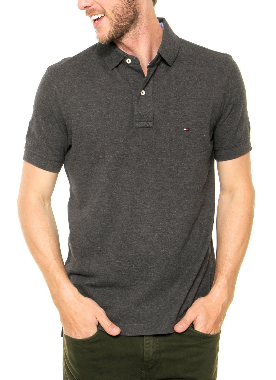 Polo Tommy Hilfiger Masculina Regular Fit Piquet Cinza Escuro