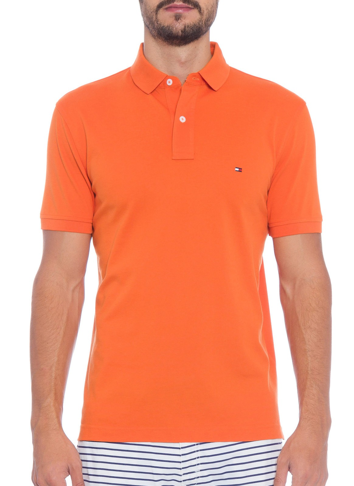 Polo Tommy Hilfiger Masculino Regular Fit Laranja