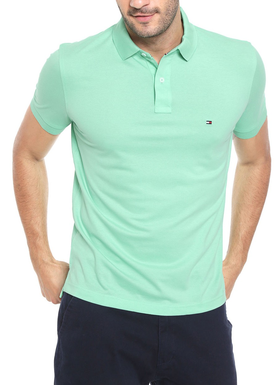 Polo Tommy Hilfiger Masculino Regular Fit Verde Claro