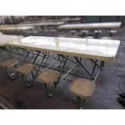 Mesa Refeitório Revestida com Assentos Fixos – ML361 Usado
