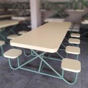 Mesa Refeitório revestida com Assentos Fixos - ML94 Usado