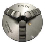 Placa para torno 100 mm c/ 3 castanhas inteiriças - GOLDY