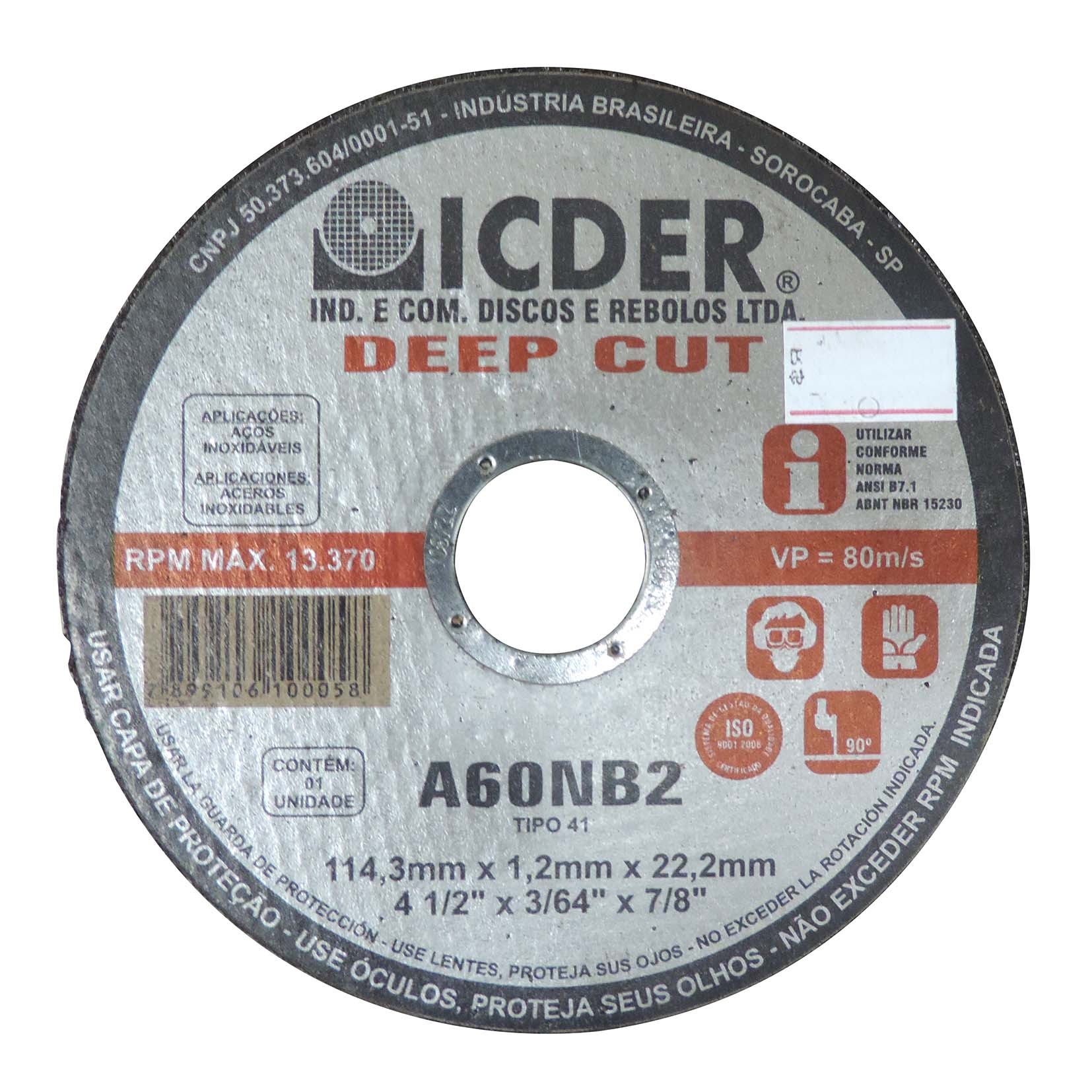 Disco De Corte Deep Cut A60NB2 114,3 x 1,2 x 22,2 mm ICDER