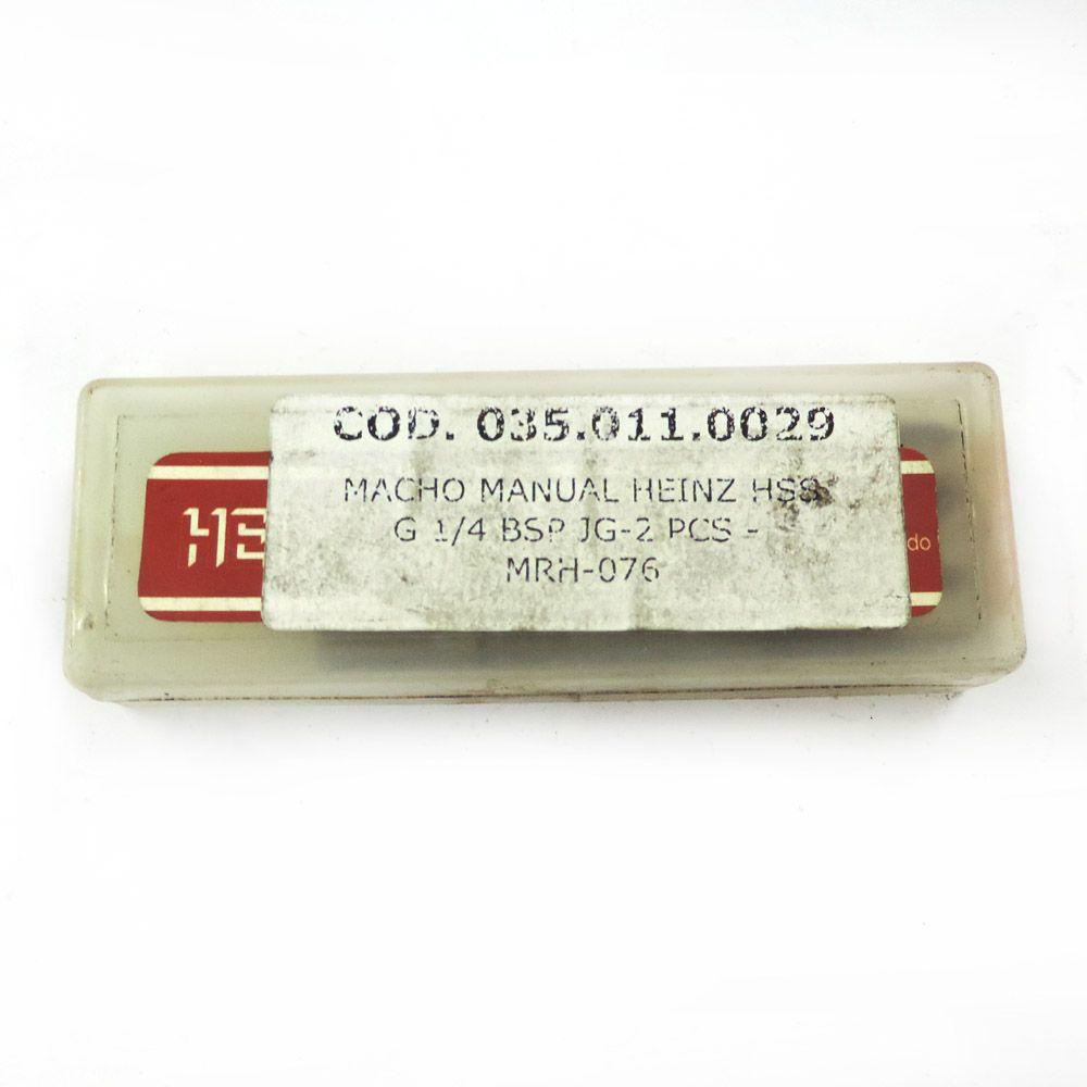 """Jogo De Macho Manual Heinz HSS G 1/4"""" x 19 BSP Com 2 Peças MRH-076"""