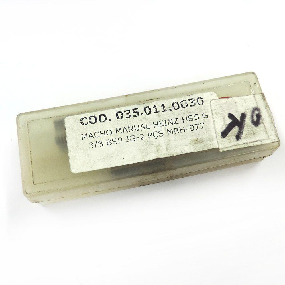 """Jogo De Macho Manual Heinz HSS G 3/8"""" x 19 BSP Com 2 Peças MRH-077"""