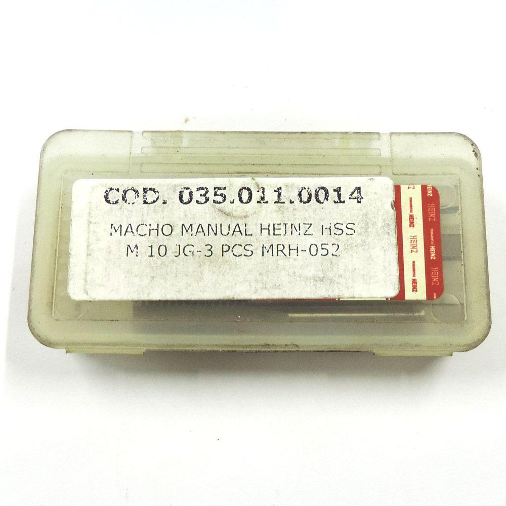 Jogo De Macho Manual Heinz HSS M10 x 1.5 Com 3 Peças MRH-052