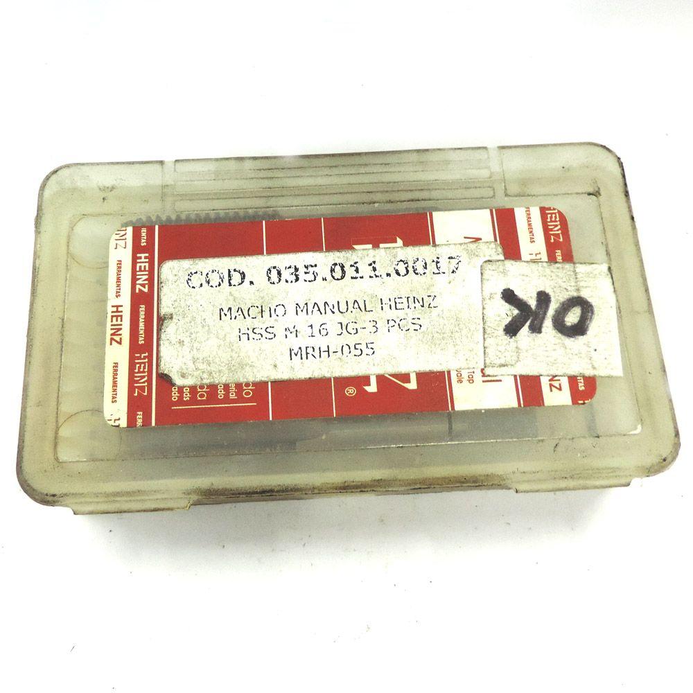 Jogo De Macho Manual Heinz HSS M16 x 2.0 Com 3 Peças MRH-055