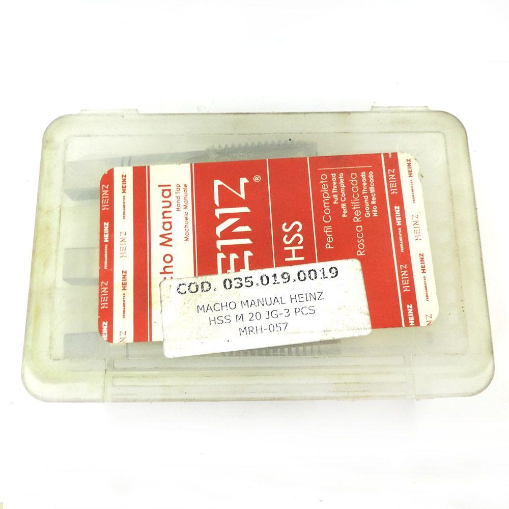 Jogo De Macho Manual Heinz HSS M20 x 2.5 Com 3 Peças MRH-057
