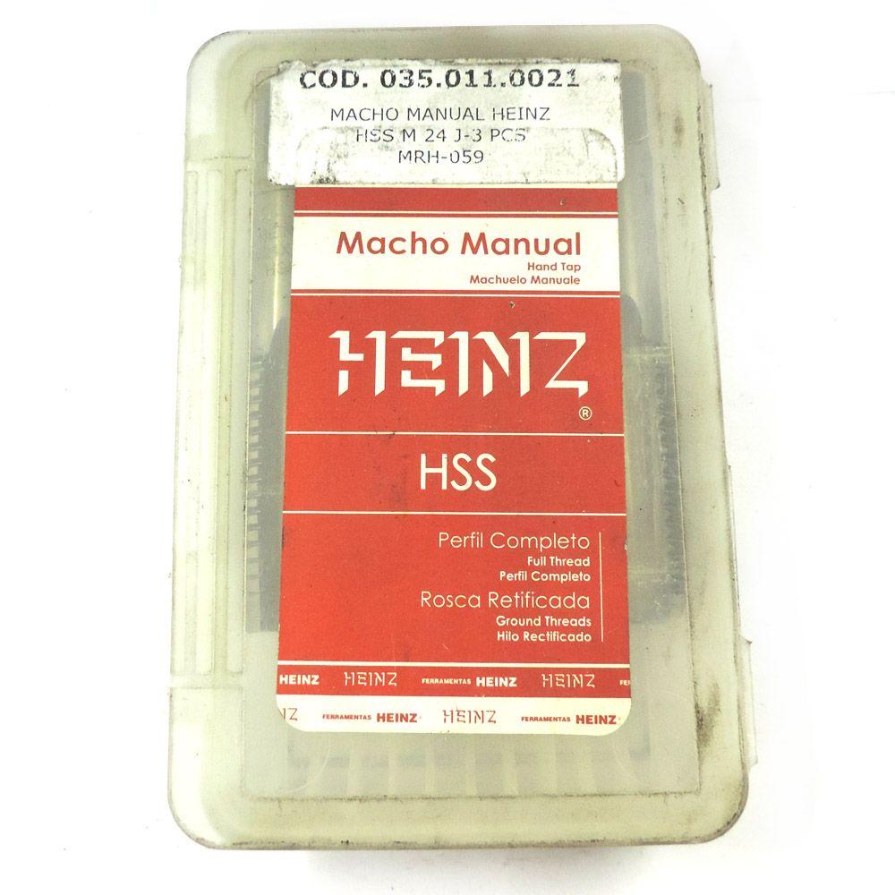 Jogo De Macho Manual Heinz HSS M24 x 3.0 Com 3 Peças MRH-059