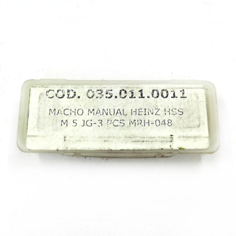 Jogo De Macho Manual Heinz HSS M5 x 0.8 Com 3 Peças MRH-048