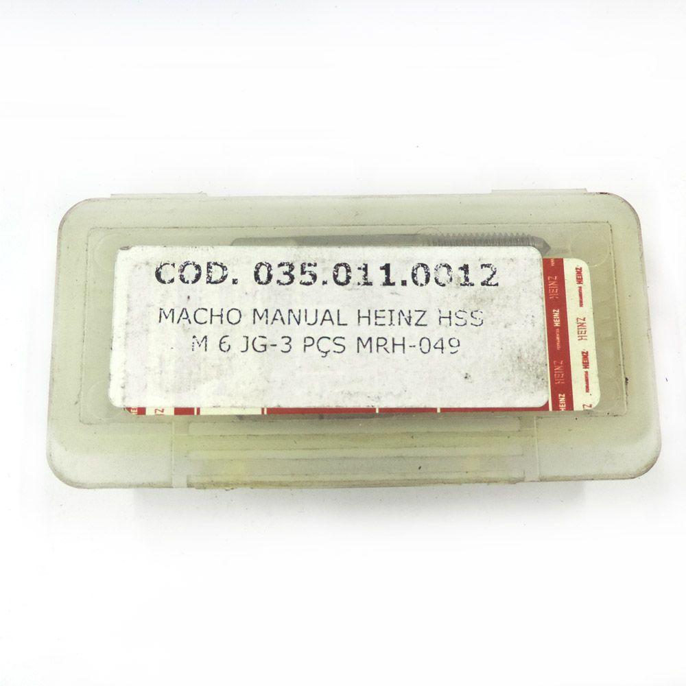 Jogo De Macho Manual Heinz HSS M6 x 1.0 Com 3 Peças MRH-049