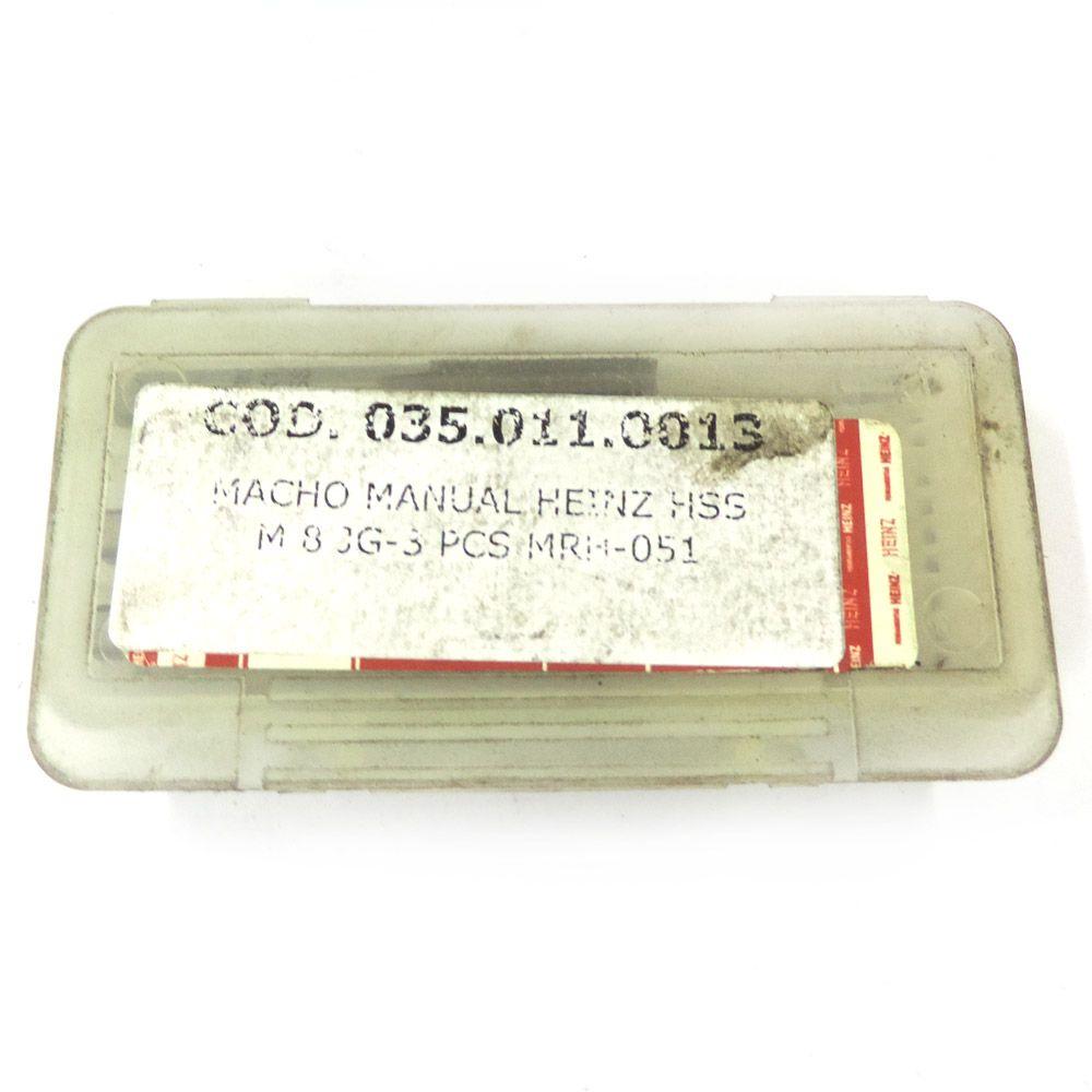 Jogo De Macho Manual Heinz HSS M8 x 1.25 Com 3 Peças MRH-051