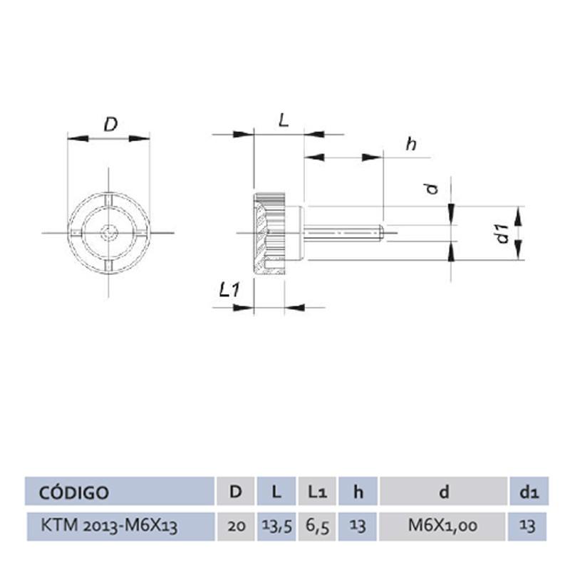 Knob Termoplástico Macho KTM 2013 M6x13