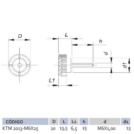 Knob Termoplástico Macho KTM 2013 M6X25