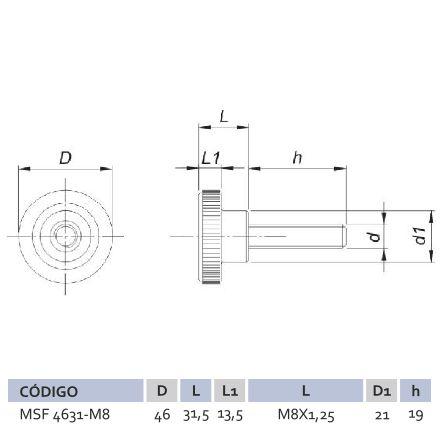 Manípulo Standard Fêmea MSF 4631 M8X50
