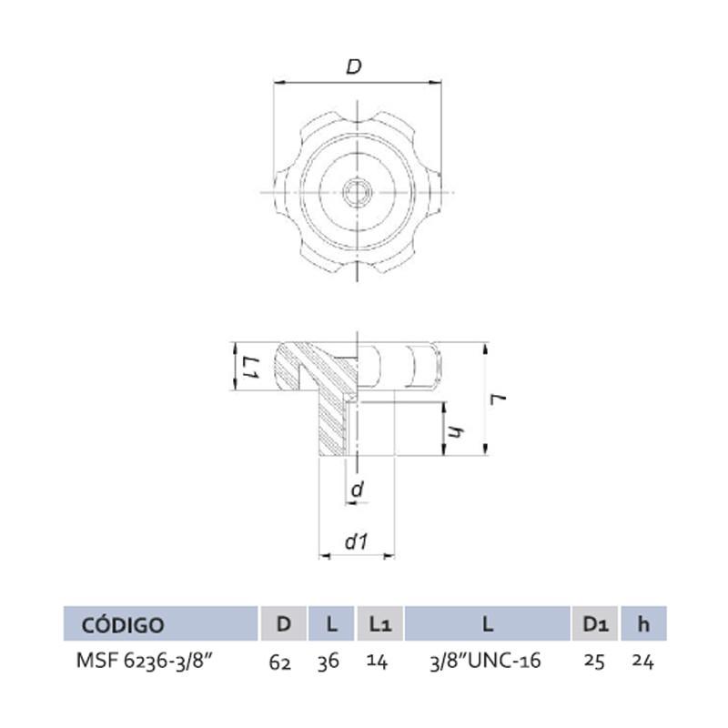 Manípulo Standard Fêmea MSF 6236 3/8