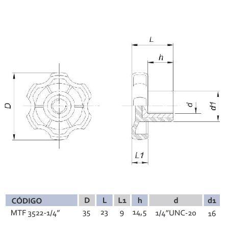Manípulo Termoplástico Fêmea MTF 3522 ¼''