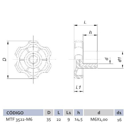 Manípulo Termoplástico Fêmea MTF 3522 M6