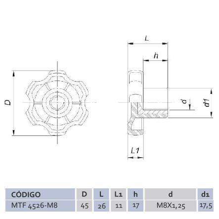 Manípulo Termoplástico Fêmea MTF 4526 M8