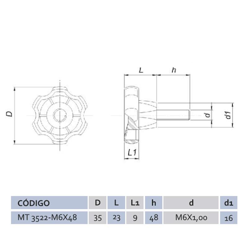Manípulo Termoplástico Macho Mtm 3522 M6x48