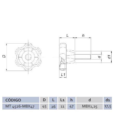 Manípulo Termoplástico Macho MTM 4526 M8 X 47