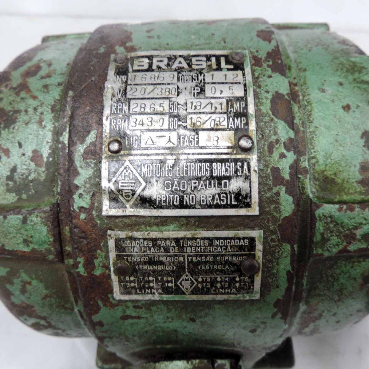 Motor Trifásico 0,5 hp 3430 rpm Com Hélice Marca Brasil F2 - Usado