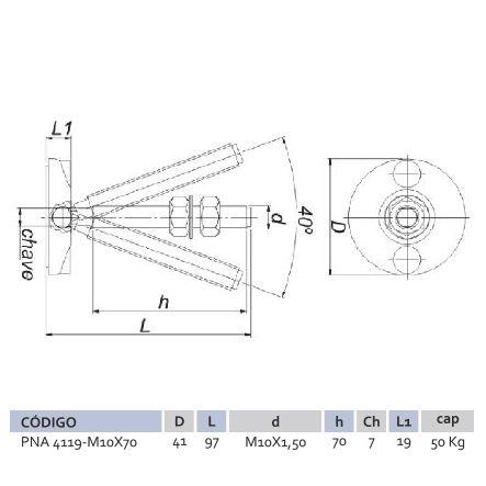 Pé Nivelador Articulado PNA 4119 M10X70