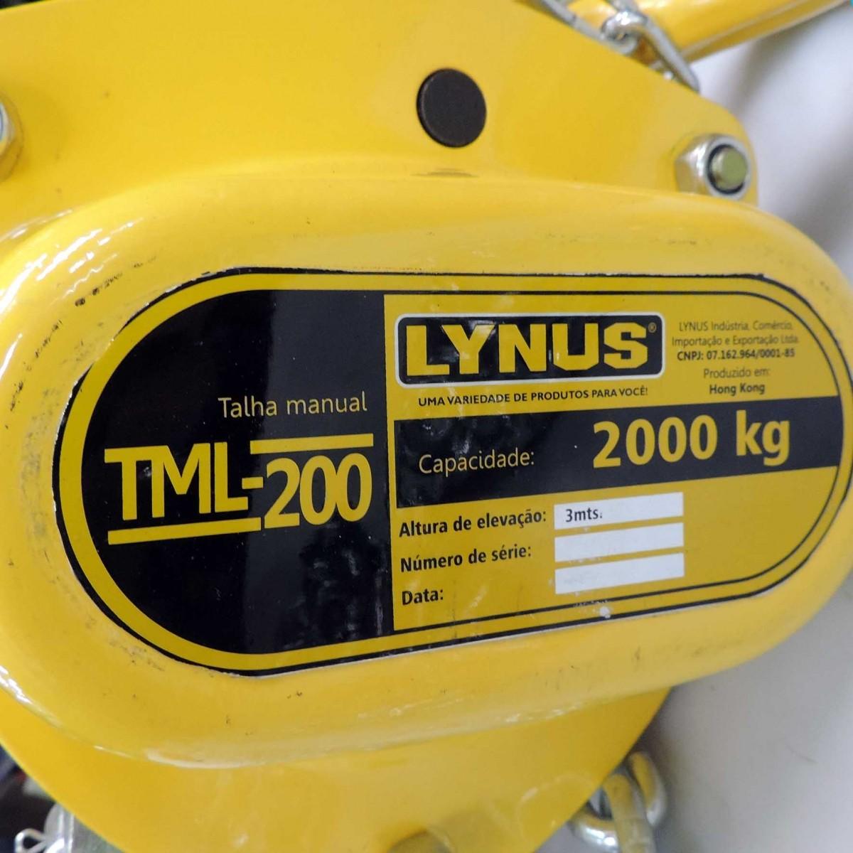 Talha Manual de corrente 2,0T x 3Mt TML-200