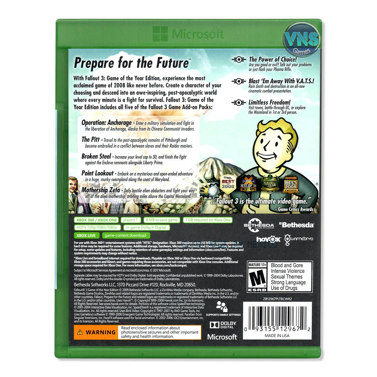Fallout 3 Game of The Year Edition - Xbox 360 / Xbox One