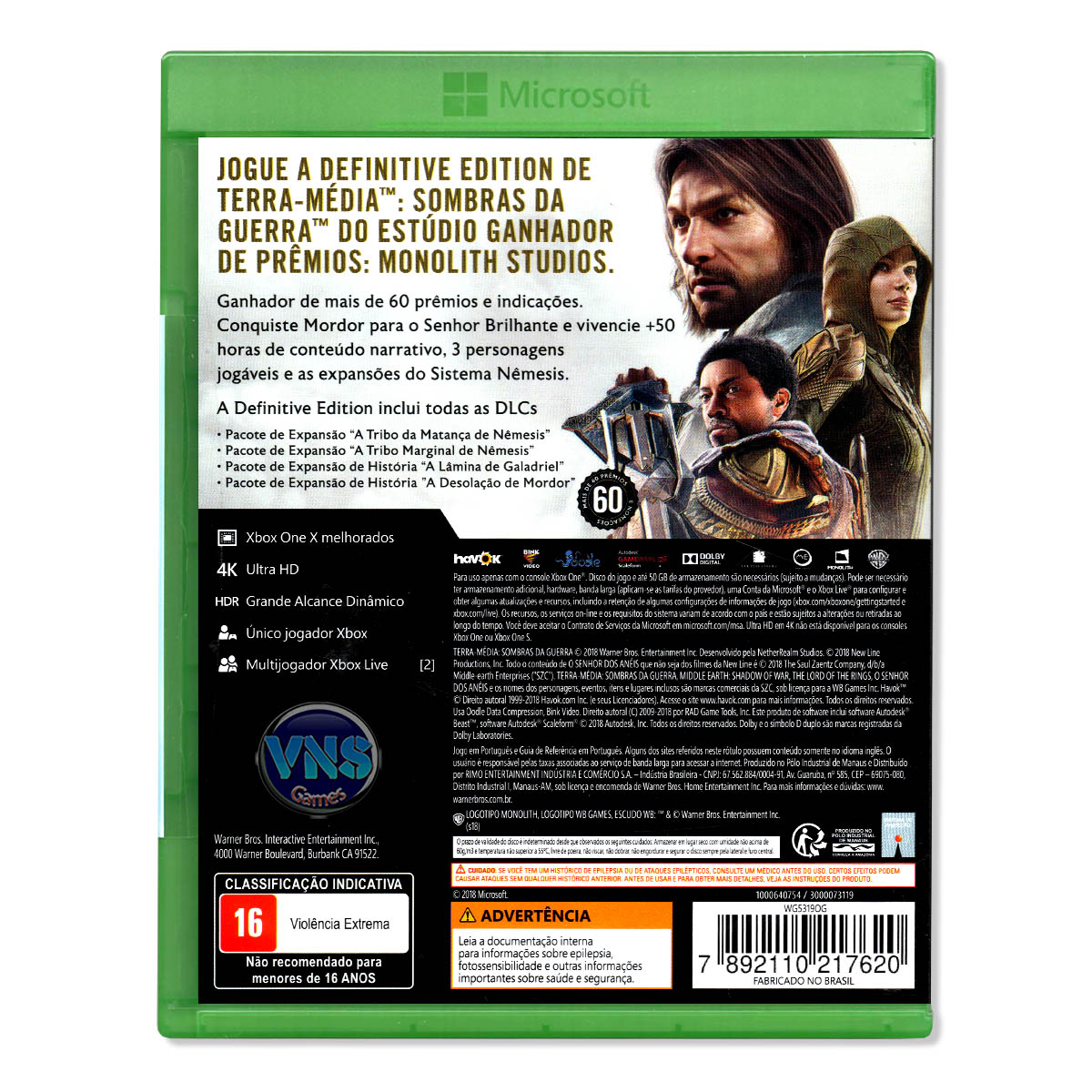 Terra Média Sombras da Guerra Definitive Edition - Xbox One