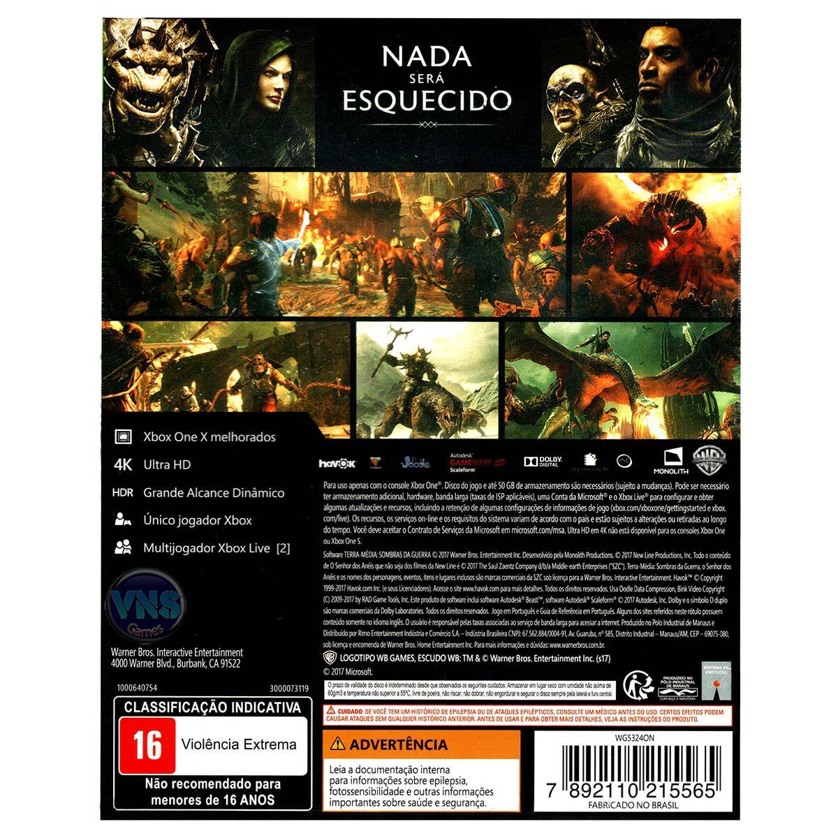 Terra Média: Sombras da Guerra - Edição Limitada - Xbox One